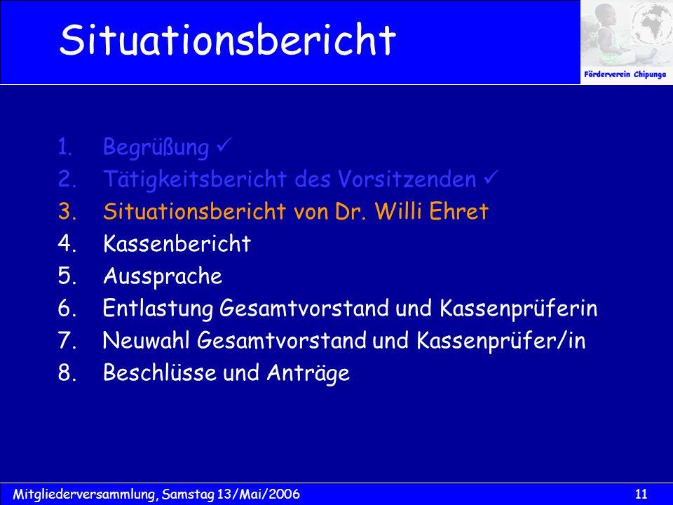 11Mitgliederversammlung, Samstag 13/Mai/2006 Situationsbericht 1.Begrüßung 2.Tätigkeitsbericht des Vorsitzenden 3.Situationsbericht von Dr. Willi Ehre