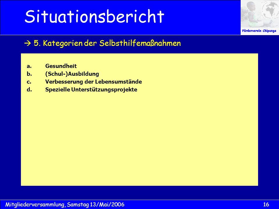 16Mitgliederversammlung, Samstag 13/Mai/2006 Situationsbericht a.Gesundheit b.(Schul-)Ausbildung c.Verbesserung der Lebensumstände d.Spezielle Unterst
