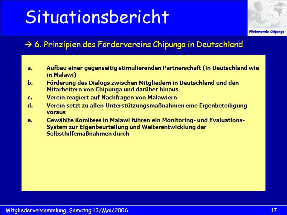 17Mitgliederversammlung, Samstag 13/Mai/2006 Situationsbericht a.Aufbau einer gegenseitig stimulierenden Partnerschaft (in Deutschland wie in Malawi)