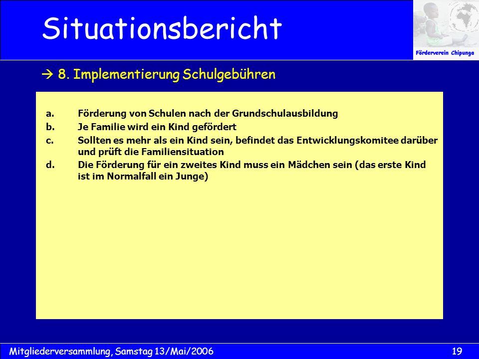 19Mitgliederversammlung, Samstag 13/Mai/2006 Situationsbericht a.Förderung von Schulen nach der Grundschulausbildung b.Je Familie wird ein Kind geförd
