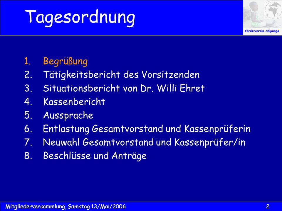 2Mitgliederversammlung, Samstag 13/Mai/2006 Tagesordnung 1.Begrüßung 2.Tätigkeitsbericht des Vorsitzenden 3.Situationsbericht von Dr. Willi Ehret 4.Ka
