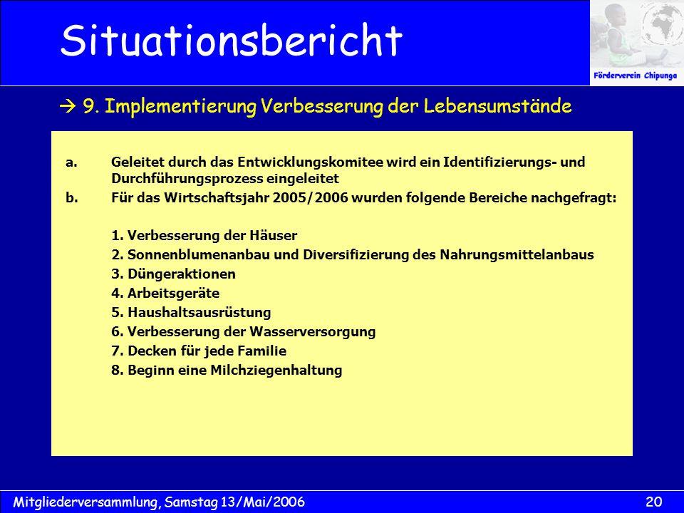 20Mitgliederversammlung, Samstag 13/Mai/2006 Situationsbericht a.Geleitet durch das Entwicklungskomitee wird ein Identifizierungs- und Durchführungspr