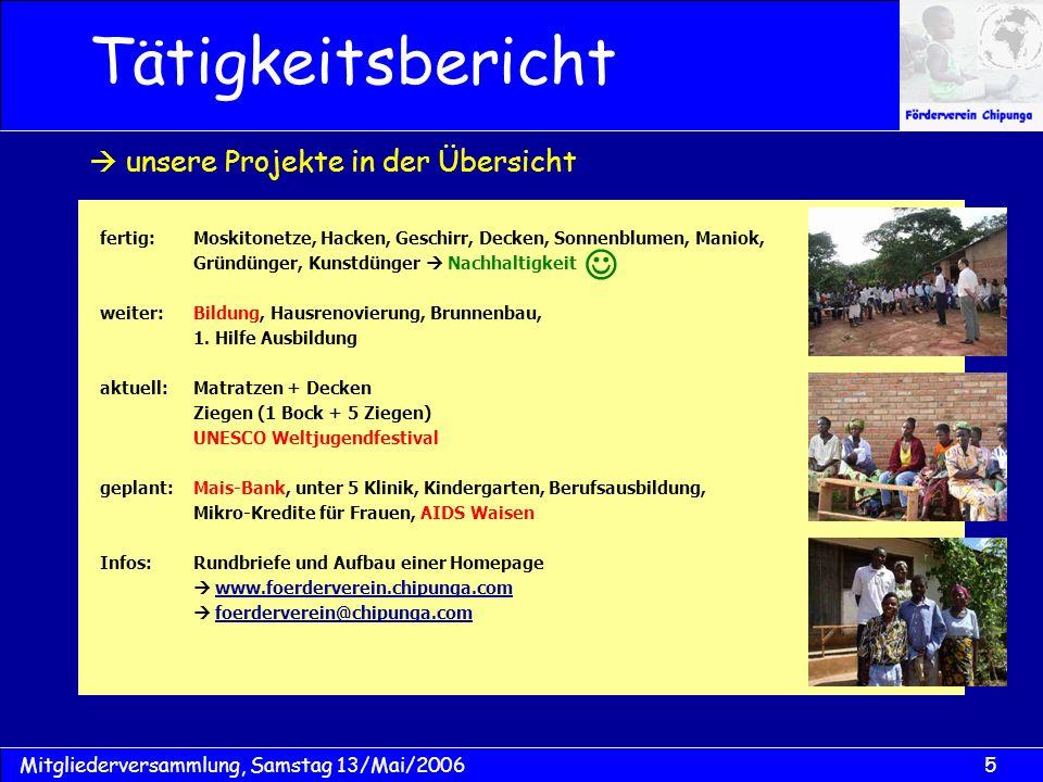 5Mitgliederversammlung, Samstag 13/Mai/2006 fertig:Moskitonetze, Hacken, Geschirr, Decken, Sonnenblumen, Maniok, Gründünger, Kunstdünger Nachhaltigkeit weiter:Bildung, Hausrenovierung, Brunnenbau, 1.