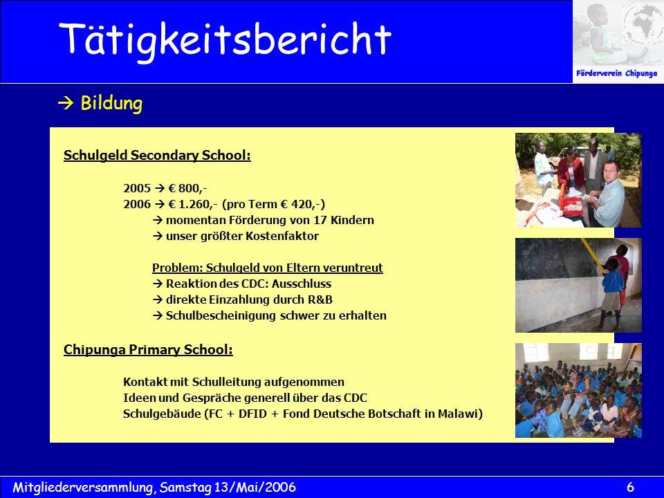 6Mitgliederversammlung, Samstag 13/Mai/2006 Schulgeld Secondary School: 2005 800,- 2006 1.260,- (pro Term 420,-) momentan Förderung von 17 Kindern uns