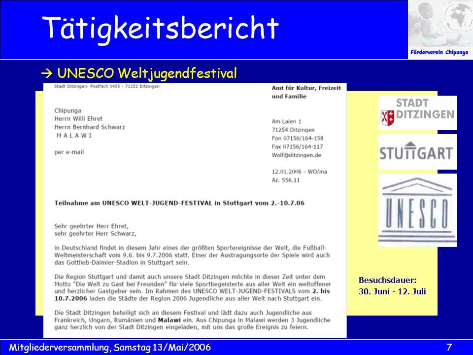 7Mitgliederversammlung, Samstag 13/Mai/2006 Besuchsdauer: 30. Juni - 12. Juli Tätigkeitsbericht UNESCO Weltjugendfestival