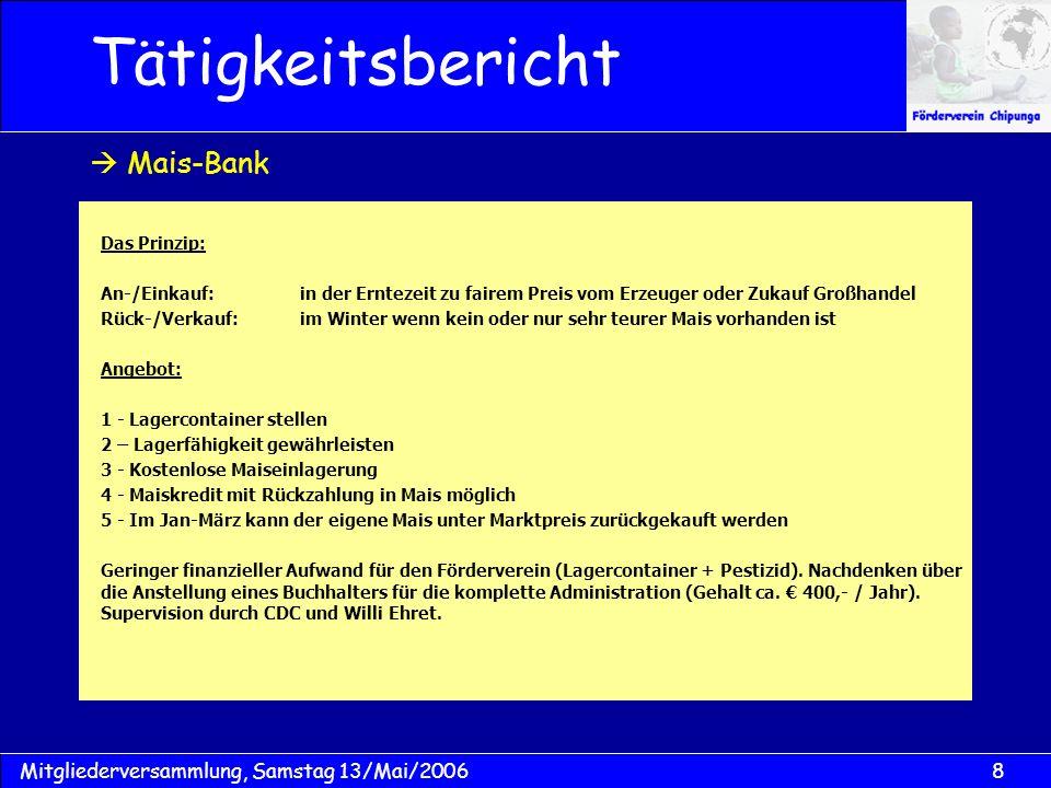 29Mitgliederversammlung, Samstag 13/Mai/2006 Vermögensaufstellung Kassenbericht
