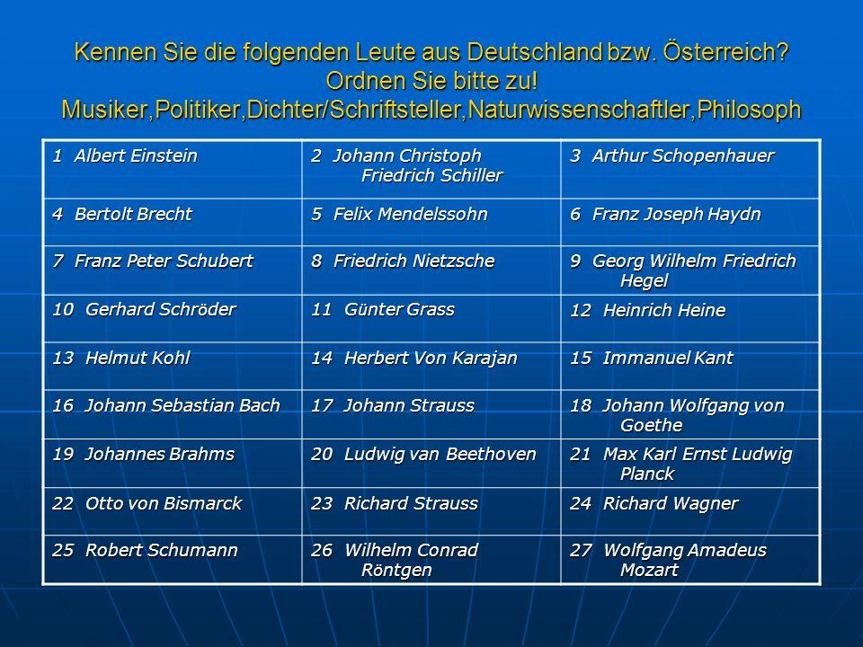 Kennen Sie die folgenden Leute aus Deutschland bzw. Österreich? Ordnen Sie bitte zu! Musiker,Politiker,Dichter/Schriftsteller,Naturwissenschaftler,Phi