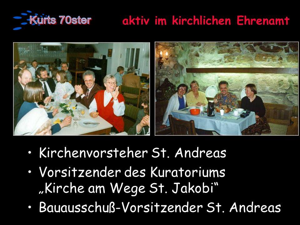 aktiv im kirchlichen Ehrenamt Kirchenvorsteher St. Andreas Vorsitzender des Kuratoriums Kirche am Wege St. Jakobi Bauausschuß-Vorsitzender St. Andreas