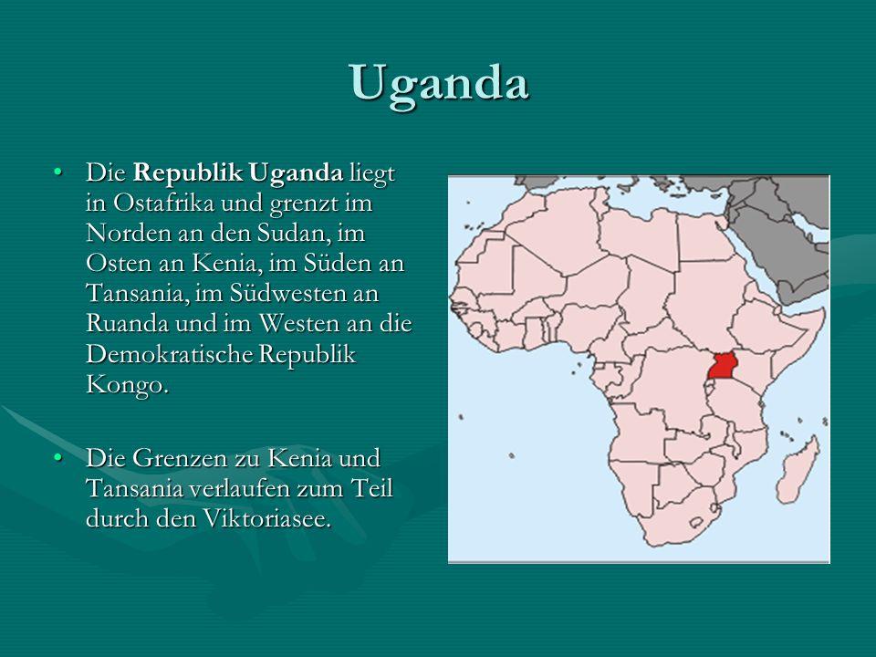 Uganda Amtssprache: Englisch, Suaheli Hauptstadt: Kampala Staatsform: Präsidialrepublik Fläche: 241.548km² Einwohnerzahl: 27.269.482 (Stand Juli 2005) Bevölkerungsdichte: 113 Einwohner pro km² BIP/Einwohner: 327 US-$ (2006)