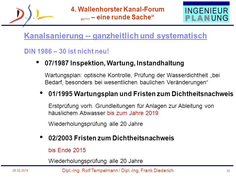 Dipl.-Ing. Rolf Tempelmann / Dipl.-Ing. Frank Diederich 4. Wallenhorster Kanal-Forum... – eine runde Sache 28.02.2014 10 DIN 1986 – 30 ist nicht neu!