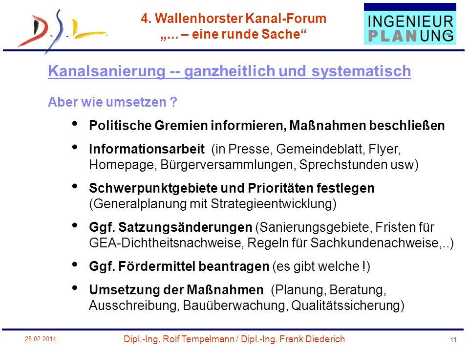 Dipl.-Ing. Rolf Tempelmann / Dipl.-Ing. Frank Diederich 4. Wallenhorster Kanal-Forum... – eine runde Sache 28.02.2014 11 Aber wie umsetzen ? Politisch