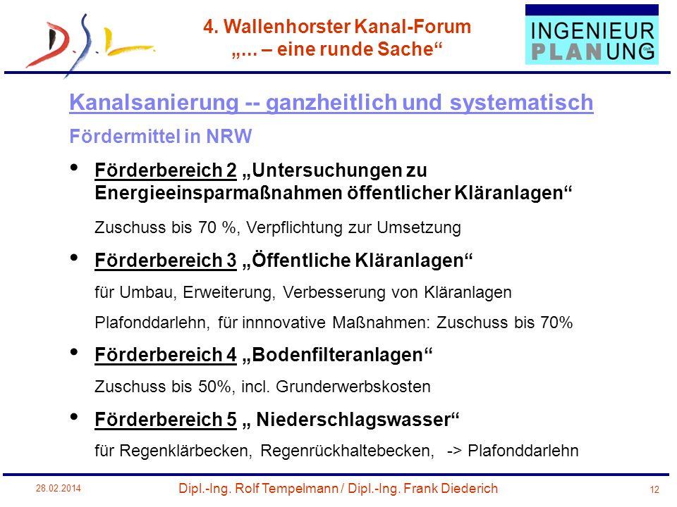 Dipl.-Ing. Rolf Tempelmann / Dipl.-Ing. Frank Diederich 4. Wallenhorster Kanal-Forum... – eine runde Sache 28.02.2014 12 Fördermittel in NRW Förderber