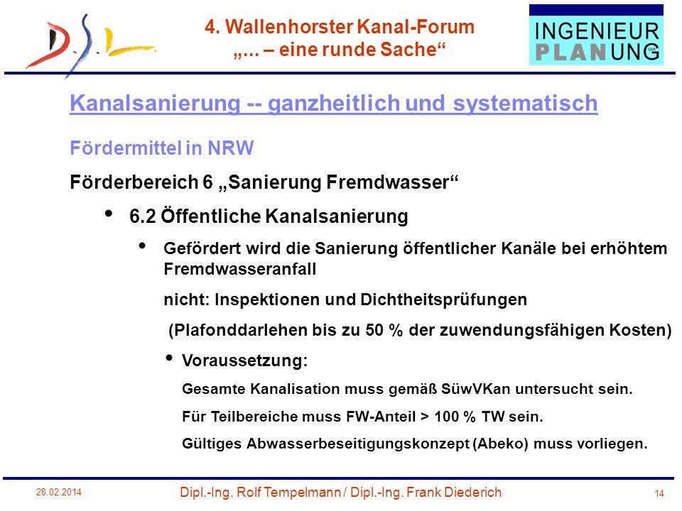 Dipl.-Ing. Rolf Tempelmann / Dipl.-Ing. Frank Diederich 4. Wallenhorster Kanal-Forum... – eine runde Sache 28.02.2014 14 Fördermittel in NRW Förderber