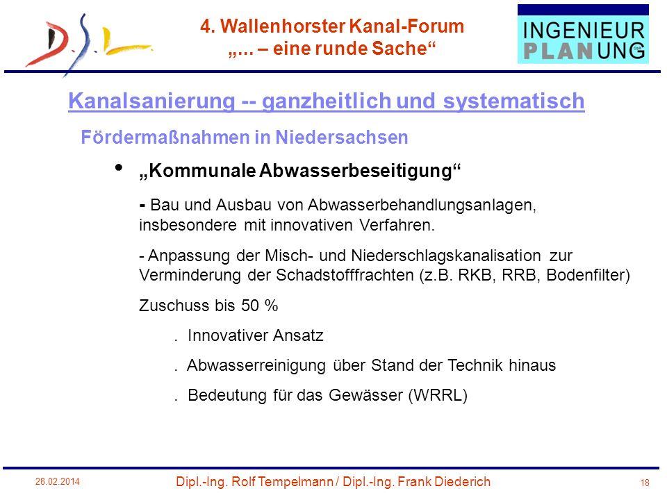 Dipl.-Ing. Rolf Tempelmann / Dipl.-Ing. Frank Diederich 4. Wallenhorster Kanal-Forum... – eine runde Sache 28.02.2014 18 Fördermaßnahmen in Niedersach