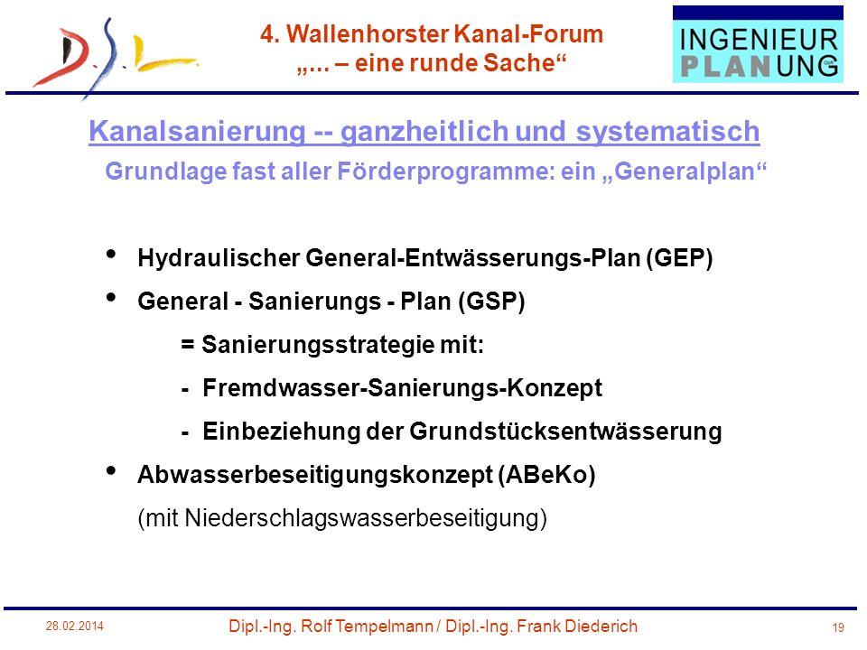 Dipl.-Ing. Rolf Tempelmann / Dipl.-Ing. Frank Diederich 4. Wallenhorster Kanal-Forum... – eine runde Sache 28.02.2014 19 Grundlage fast aller Förderpr