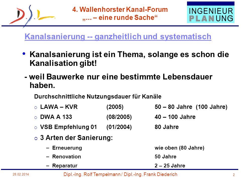 Dipl.-Ing. Rolf Tempelmann / Dipl.-Ing. Frank Diederich 4. Wallenhorster Kanal-Forum... – eine runde Sache 28.02.2014 2 Kanalsanierung ist ein Thema,