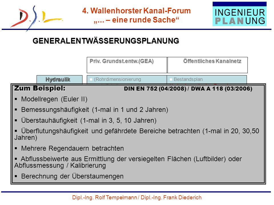 Dipl.-Ing. Rolf Tempelmann / Dipl.-Ing. Frank Diederich 4. Wallenhorster Kanal-Forum... – eine runde Sache 25 GENERALENTWÄSSERUNGSPLANUNG Priv. Grunds