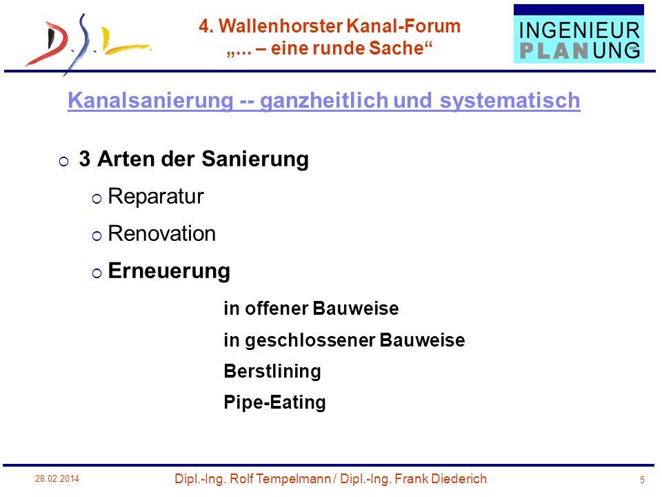 Dipl.-Ing. Rolf Tempelmann / Dipl.-Ing. Frank Diederich 4. Wallenhorster Kanal-Forum... – eine runde Sache 28.02.2014 5 3 Arten der Sanierung Reparatu