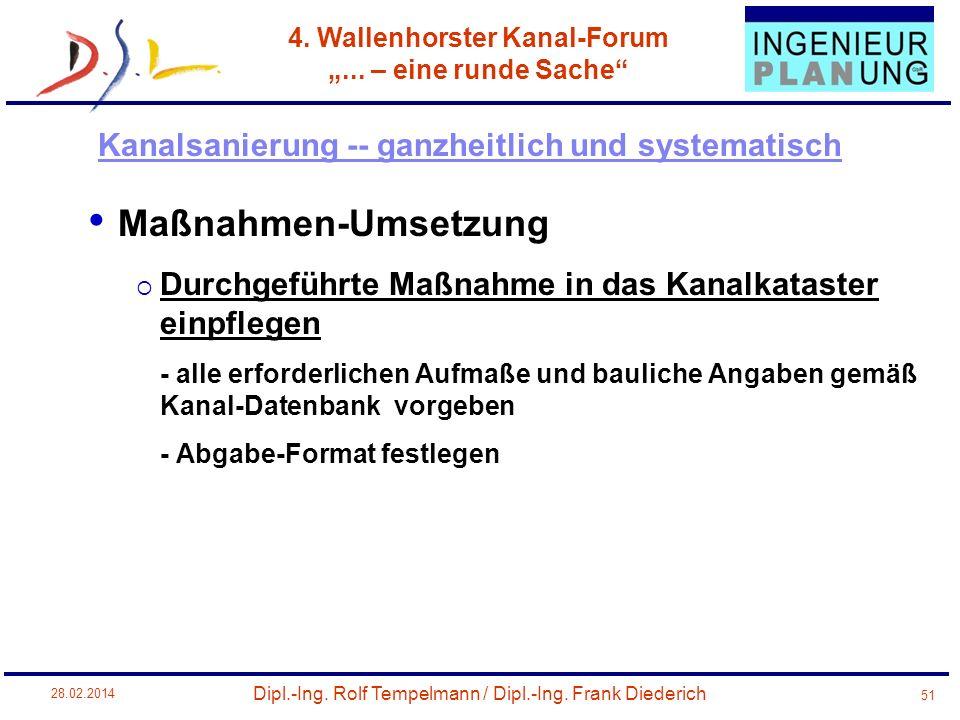 Dipl.-Ing. Rolf Tempelmann / Dipl.-Ing. Frank Diederich 4. Wallenhorster Kanal-Forum... – eine runde Sache 28.02.2014 51 Maßnahmen-Umsetzung Durchgefü