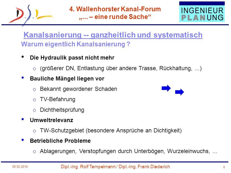 Dipl.-Ing. Rolf Tempelmann / Dipl.-Ing. Frank Diederich 4. Wallenhorster Kanal-Forum... – eine runde Sache 28.02.2014 6 Warum eigentlich Kanalsanierun