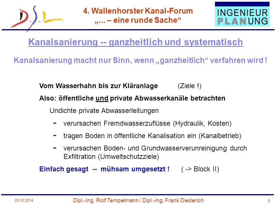 Dipl.-Ing. Rolf Tempelmann / Dipl.-Ing. Frank Diederich 4. Wallenhorster Kanal-Forum... – eine runde Sache 28.02.2014 8 Kanalsanierung macht nur Sinn,