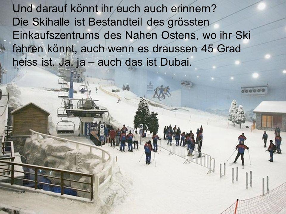 Und darauf könnt ihr euch auch erinnern? Die Skihalle ist Bestandteil des grössten Einkaufszentrums des Nahen Ostens, wo ihr Ski fahren könnt, auch we