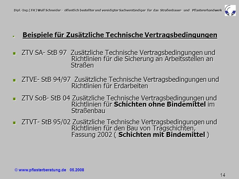 © www.pflasterberatung.de 05.2008 14 Dipl.-Ing.( FH ) Wulf Schneider - öffentlich bestellter und vereidigter Sachverständiger für das Straßenbauer- un