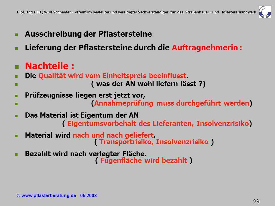 © www.pflasterberatung.de 05.2008 29 Dipl.-Ing.( FH ) Wulf Schneider - öffentlich bestellter und vereidigter Sachverständiger für das Straßenbauer- un