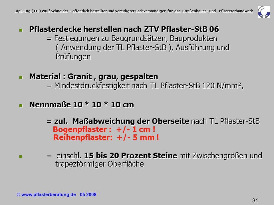 © www.pflasterberatung.de 05.2008 31 Dipl.-Ing.( FH ) Wulf Schneider - öffentlich bestellter und vereidigter Sachverständiger für das Straßenbauer- un
