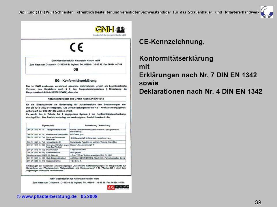 © www.pflasterberatung.de 05.2008 38 Dipl.-Ing.( FH ) Wulf Schneider - öffentlich bestellter und vereidigter Sachverständiger für das Straßenbauer- un
