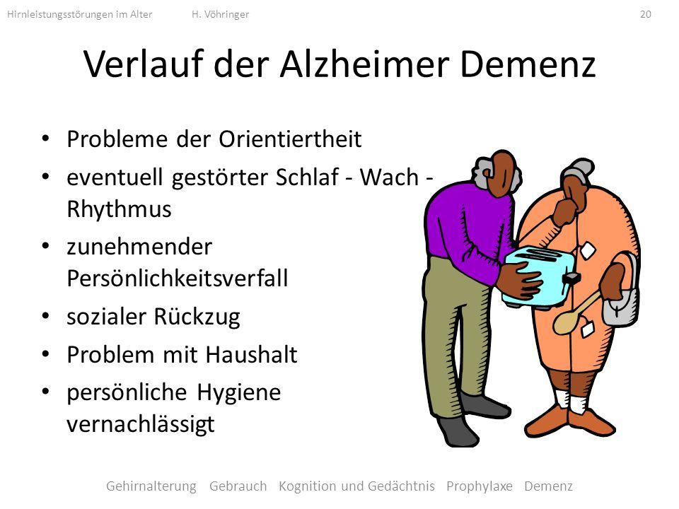 Verlauf der Alzheimer Demenz Probleme der Orientiertheit eventuell gestörter Schlaf - Wach - Rhythmus zunehmender Persönlichkeitsverfall sozialer Rückzug Problem mit Haushalt persönliche Hygiene vernachlässigt Hirnleistungsstörungen im Alter H.