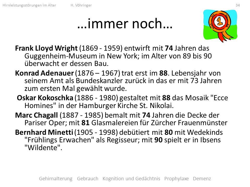 …immer noch… Frank Lloyd Wright (1869 - 1959) entwirft mit 74 Jahren das Guggenheim-Museum in New York; im Alter von 89 bis 90 überwacht er dessen Bau.