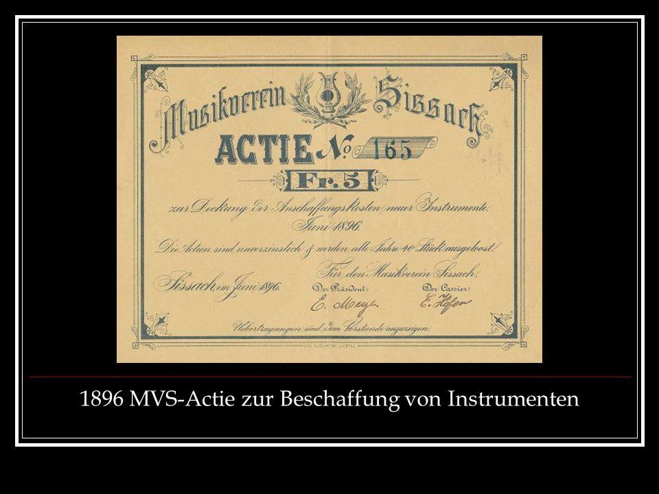 1896 MVS-Actie zur Beschaffung von Instrumenten