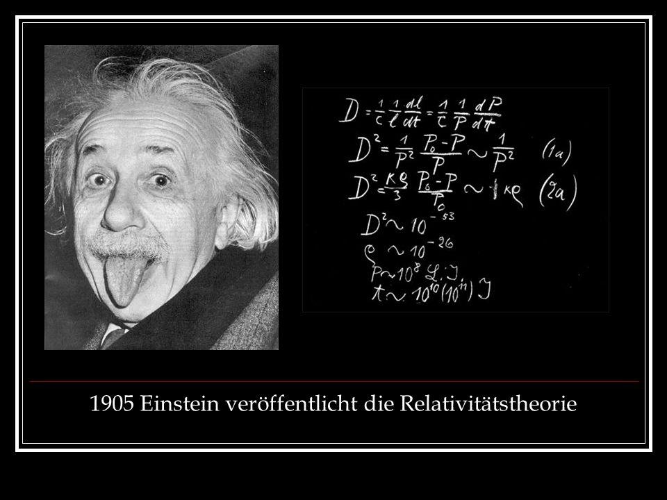 1905 Einstein veröffentlicht die Relativitätstheorie