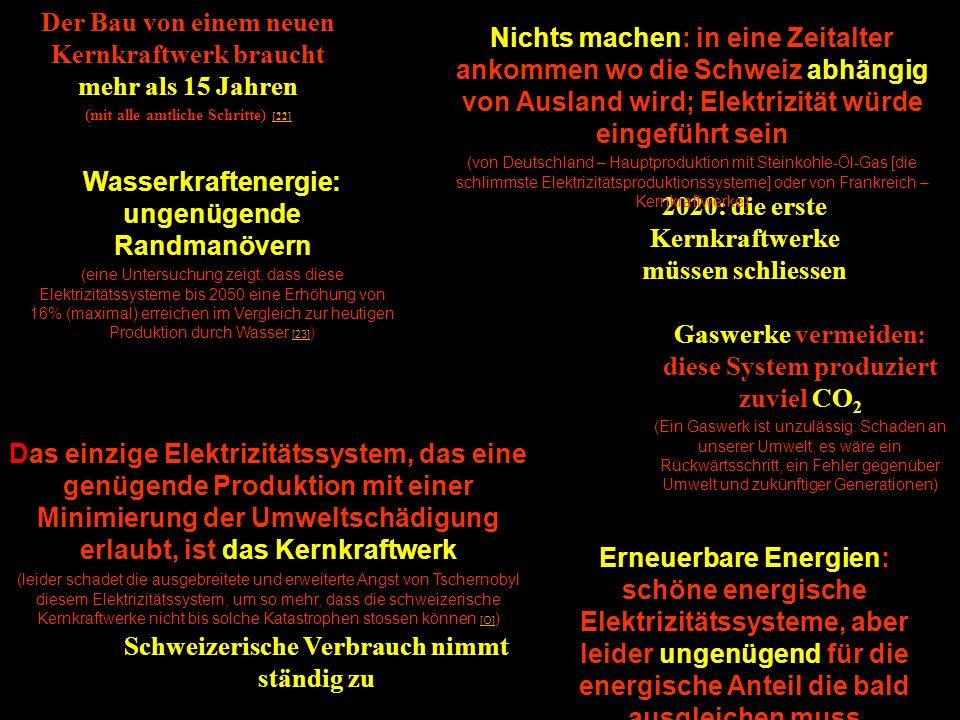 2020: die erste Kernkraftwerke müssen schliessen Schweizerische Verbrauch nimmt ständig zu Erneuerbare Energien: schöne energische Elektrizitätssystem