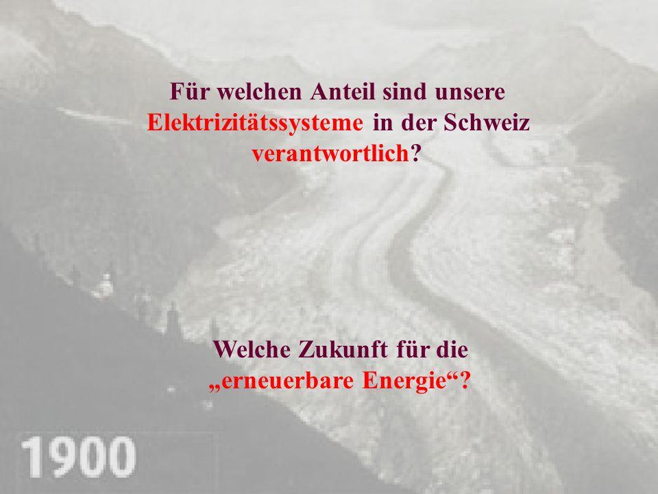Für welchen Anteil sind unsere Elektrizitätssysteme in der Schweiz verantwortlich? Welche Zukunft für die erneuerbare Energie?