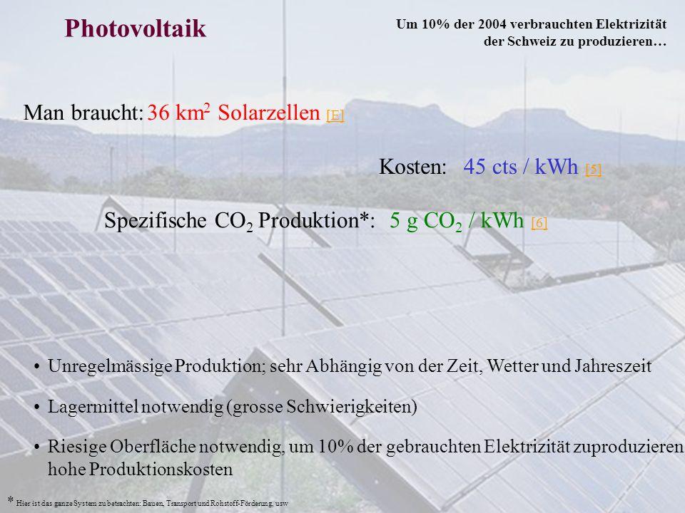Man braucht: Photovoltaik Unregelmässige Produktion; sehr Abhängig von der Zeit, Wetter und Jahreszeit 36 km 2 Solarzellen [E] [E] Lagermittel notwend