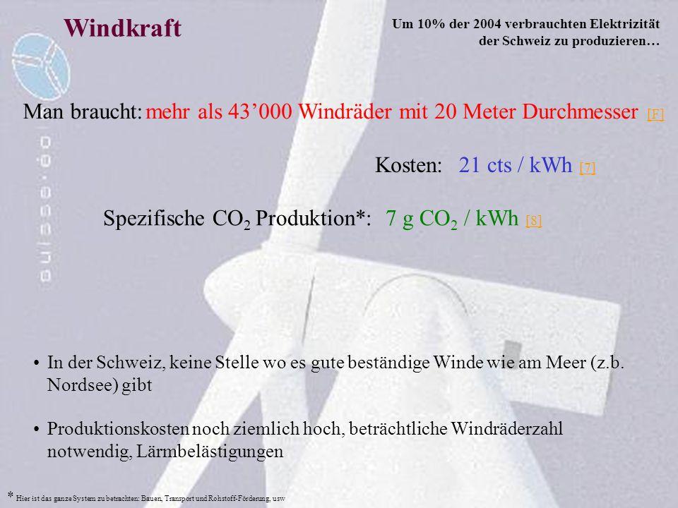 Windkraft In der Schweiz, keine Stelle wo es gute beständige Winde wie am Meer (z.b. Nordsee) gibt Man braucht:mehr als 43000 Windräder mit 20 Meter D
