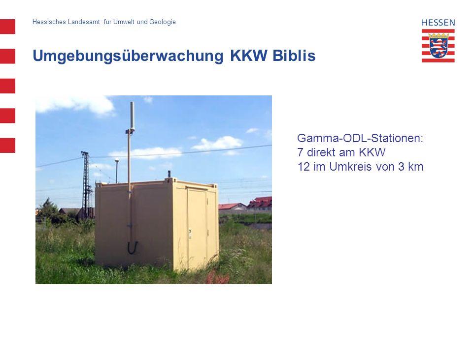 Umgebungsüberwachung KKW Biblis Hessisches Landesamt für Umwelt und Geologie Gamma-ODL-Stationen: 7 direkt am KKW 12 im Umkreis von 3 km