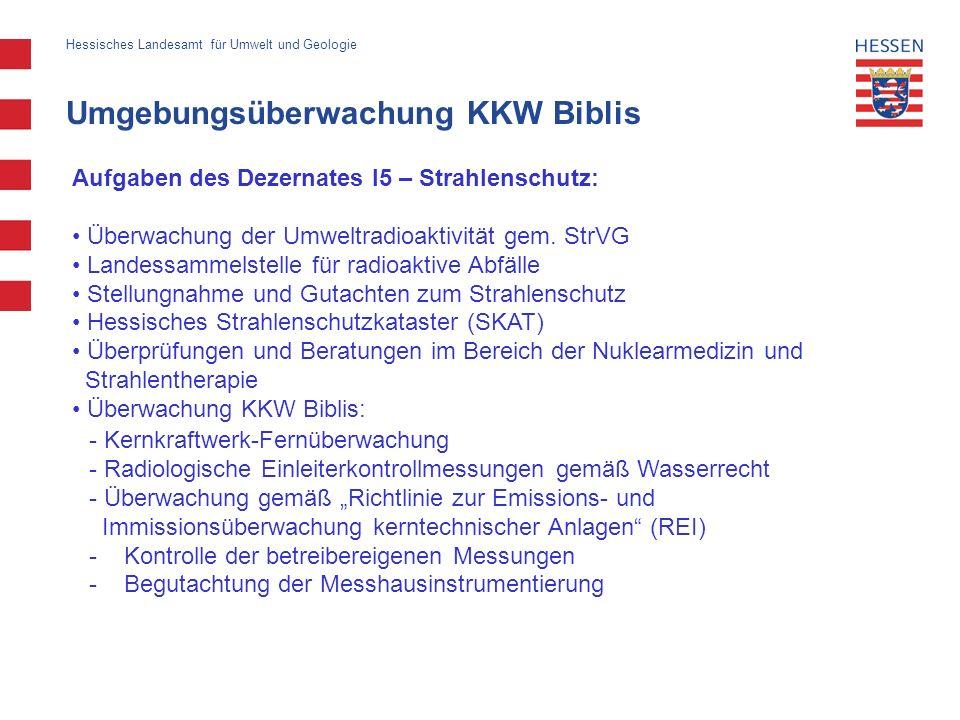 Umgebungsüberwachung KKW Biblis Hessisches Landesamt für Umwelt und Geologie Aufgaben des Dezernates I5 – Strahlenschutz: Überwachung der Umweltradioa