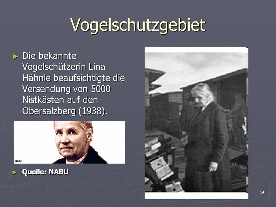 24 Vogelschutzgebiet Die bekannte Vogelschützerin Lina Hähnle beaufsichtigte die Versendung von 5000 Nistkästen auf den Obersalzberg (1938). Die bekan