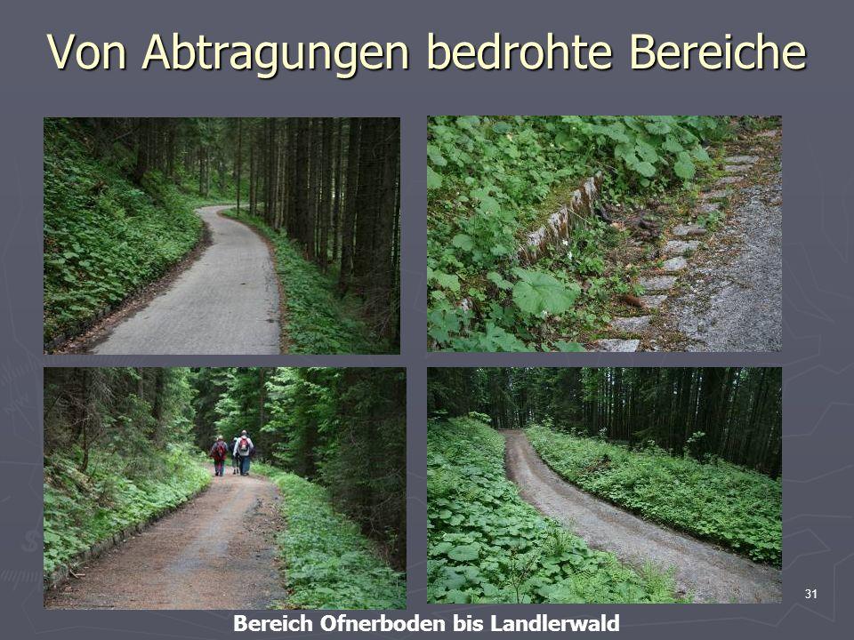31 Von Abtragungen bedrohte Bereiche Bereich Ofnerboden bis Landlerwald