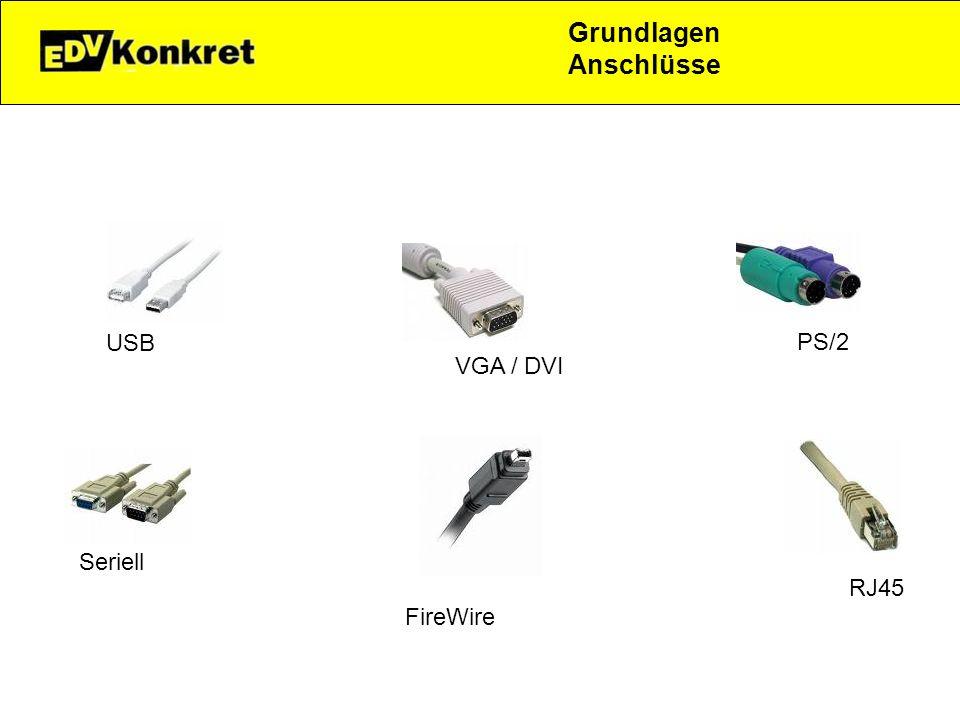Grundlagen Anschlüsse USB VGA / DVI PS/2 Seriell FireWire RJ45