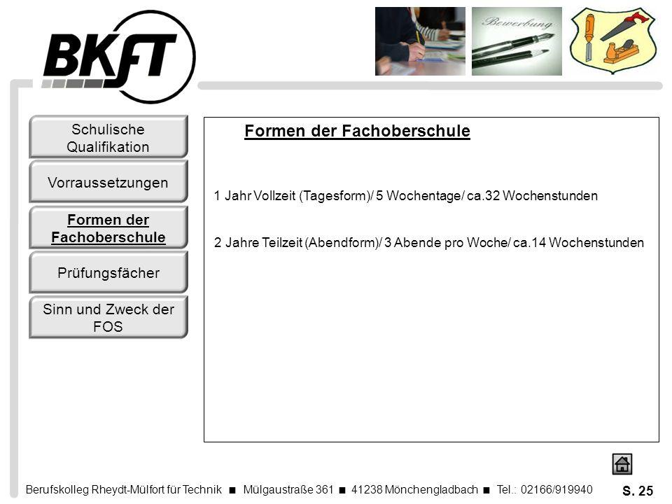 Berufskolleg Rheydt-Mülfort für Technik Mülgaustraße 361 41238 Mönchengladbach Tel.: 02166/919940 S. 25 Formen der Fachoberschule 1 Jahr Vollzeit (Tag