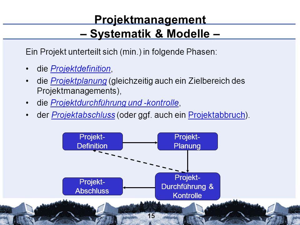 15 Projektmanagement – Systematik & Modelle – Ein Projekt unterteilt sich (min.) in folgende Phasen: die Projektdefinition,Projektdefinition die Proje