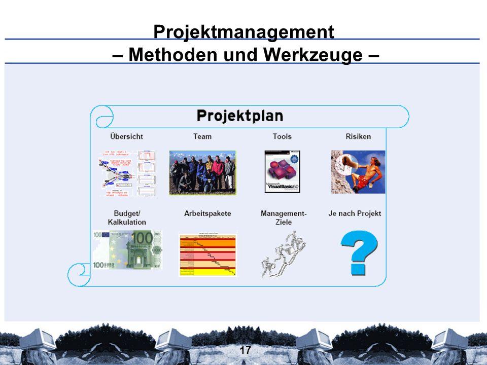 17 Projektmanagement – Methoden und Werkzeuge –