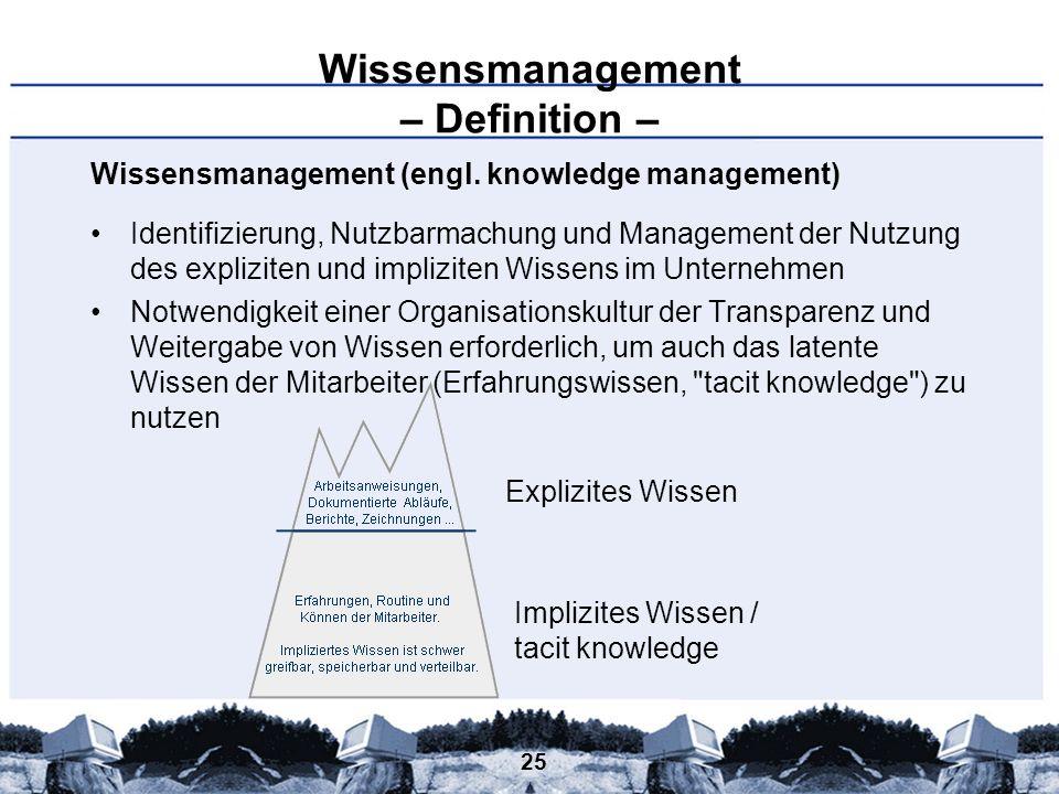 25 Wissensmanagement – Definition – Wissensmanagement (engl. knowledge management) Identifizierung, Nutzbarmachung und Management der Nutzung des expl