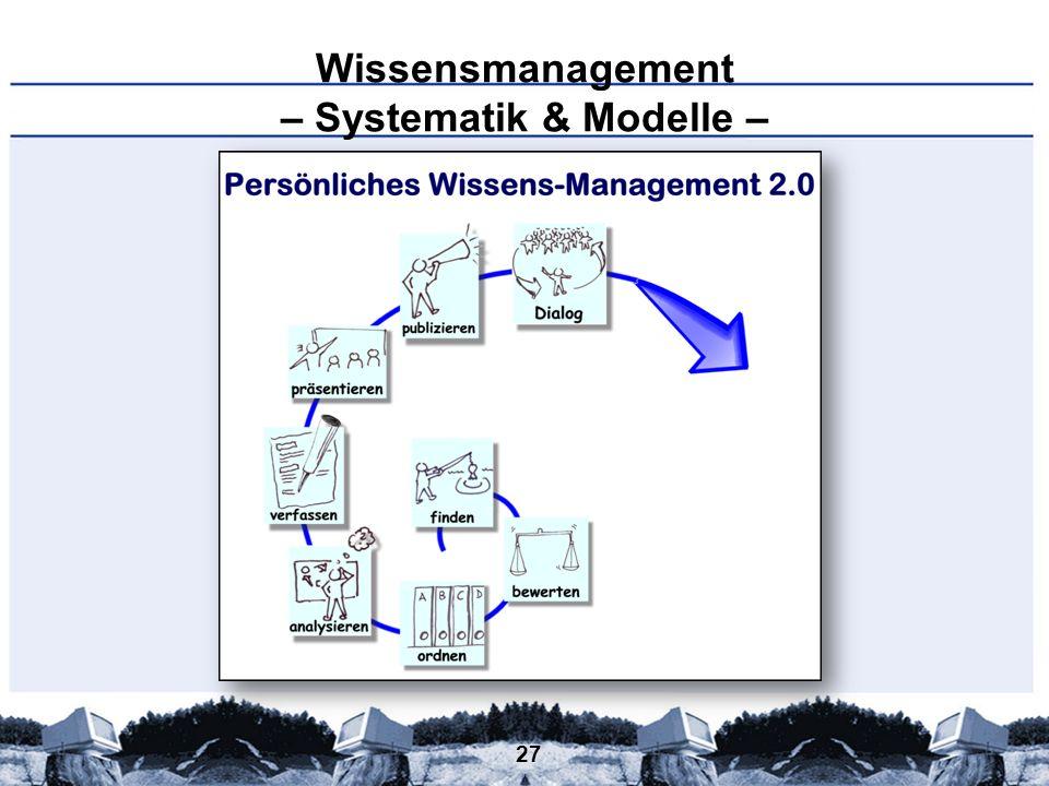 27 Wissensmanagement – Systematik & Modelle –