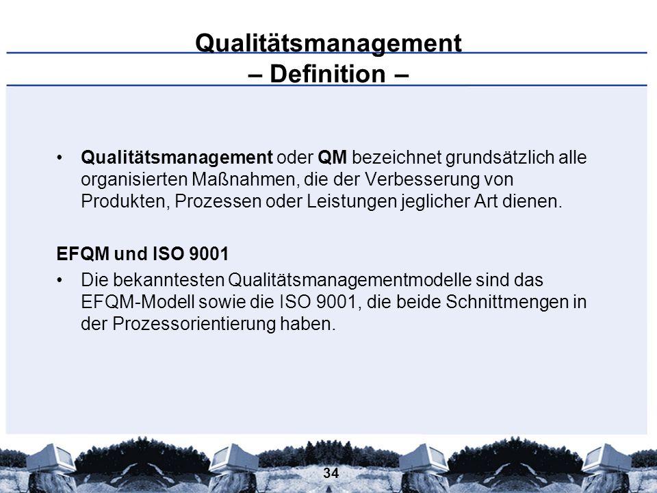 34 Qualitätsmanagement – Definition – Qualitätsmanagement oder QM bezeichnet grundsätzlich alle organisierten Maßnahmen, die der Verbesserung von Prod
