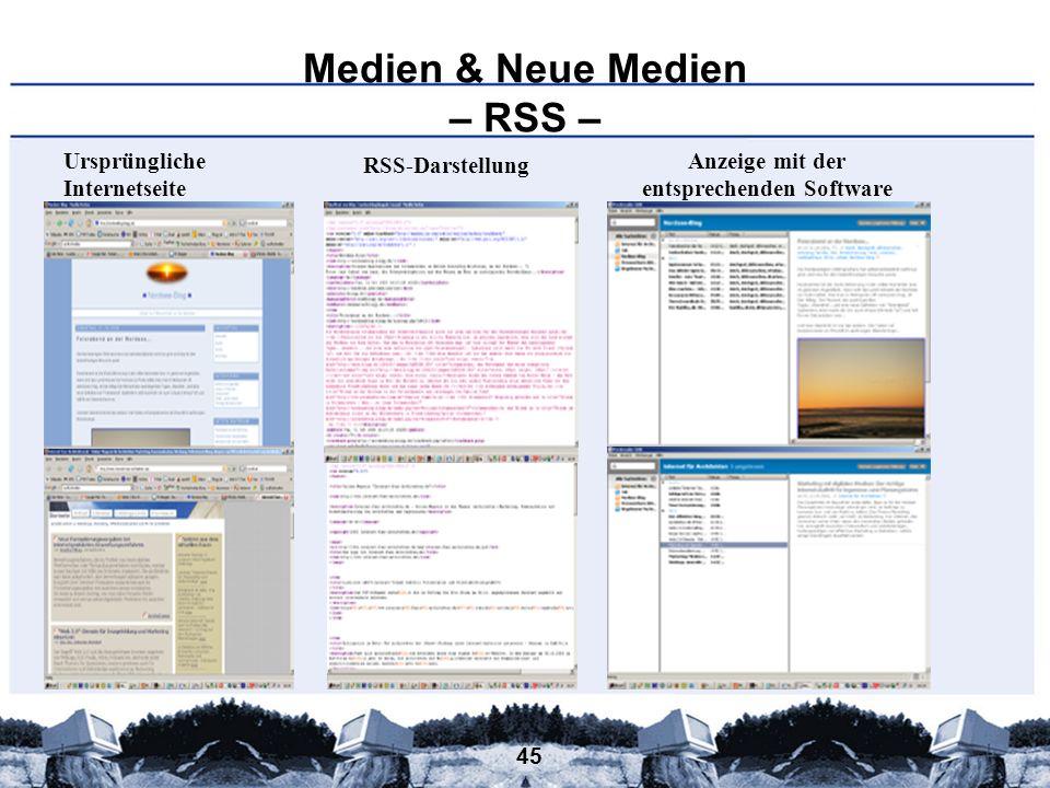 45 Medien & Neue Medien – RSS – Anzeige mit der entsprechenden Software RSS-Darstellung Ursprüngliche Internetseite